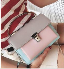 Casual Stylish Woman With Gray Cute Color Blocked Bag- Front View