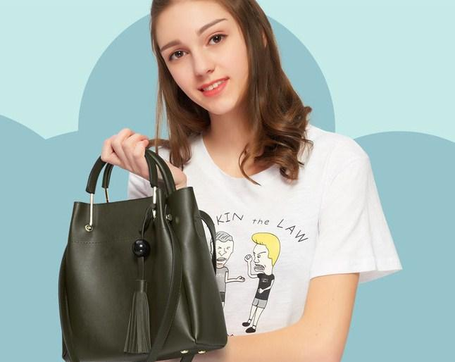 Casual Stylish Woman With Black CLASSIC BUCKET BAG - Front View