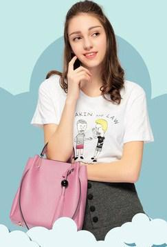 Casual Stylish Woman With Pink CLASSIC BUCKET BAG - Side View