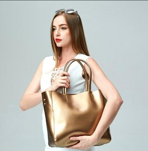 Casual Stylish Woman With Gold Metallic Tote Bag-Side View
