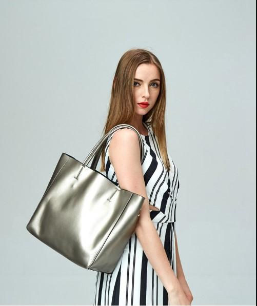 Casual Stylish Woman With Silver Metallic Tote Bag-Side View