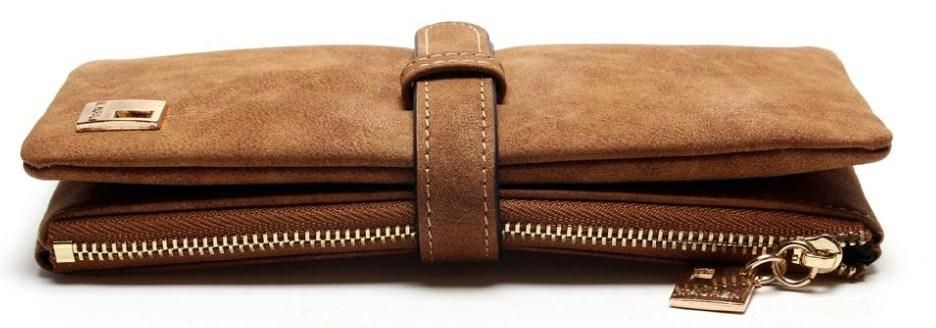 Casual Stylish Brown Classic Suede Wallet - Top View