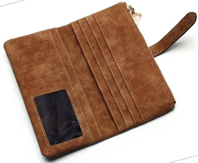 Casual Stylish Brown Classic Suede Wallet - Open View