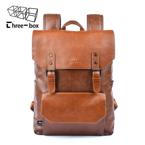 THREE BOX Genuine Leather Retro Backpack-bag-BagPrime - Global Prime Bag Fashion Platform-Black-BagPrime - Global Prime Bag Fashion Platform