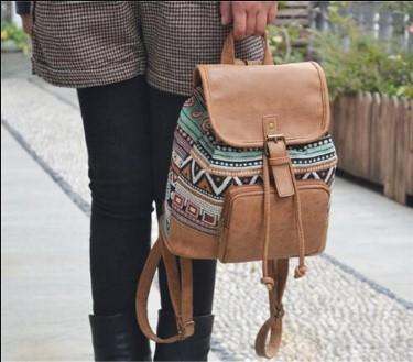 Casual Stylish Woman With Brown Tribal Print Retro Backpack- Front View
