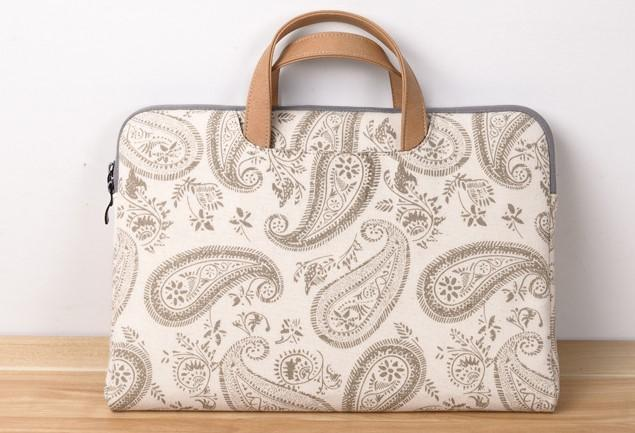 Tropical Print White Laptop Bag- Front View