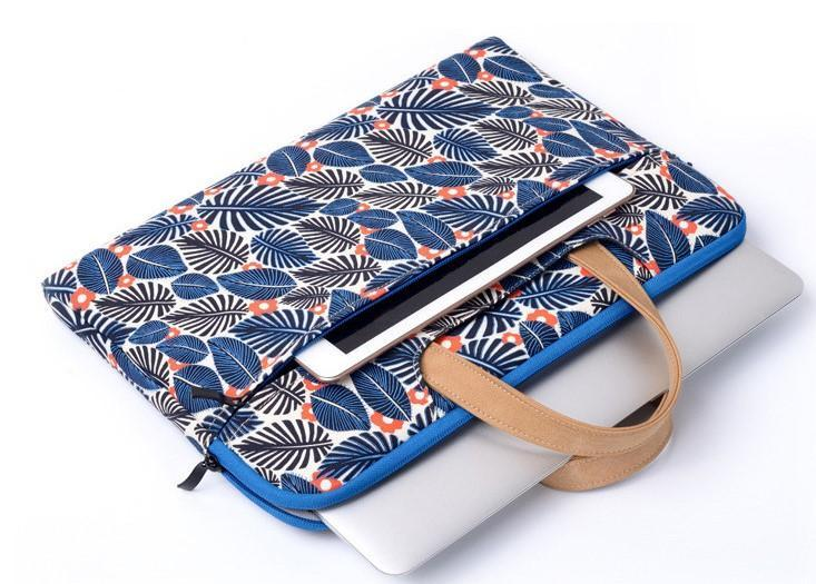 Tropical Print Blue Laptop Bag- Top View