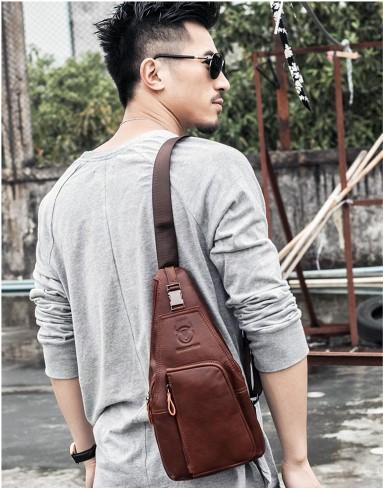 Casual Stylish Man With Brown Leather Chest Bag- Front View