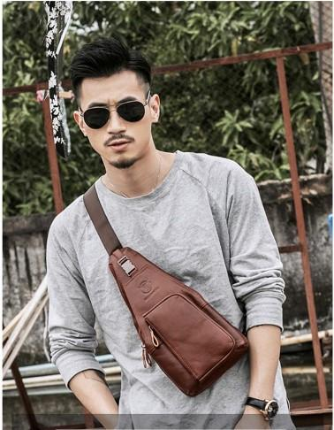 Casual Stylish Man With Brown Leather Chest Bag- Side View