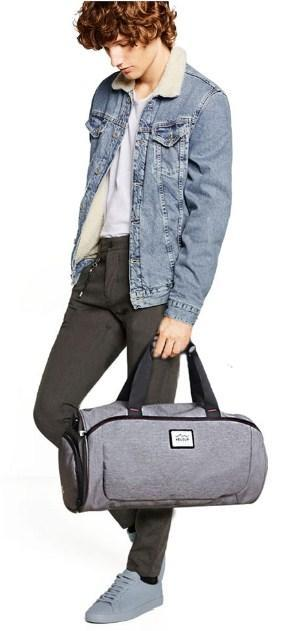 Casual Stylish Man With Grey Gym Bag - Front View
