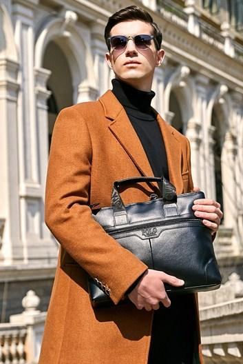 Casual Stylish Man With Black Classic Business Bag - Front View