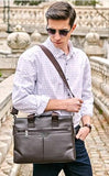 Casual Stylish Man With Brown Classic Business Bag - Side View
