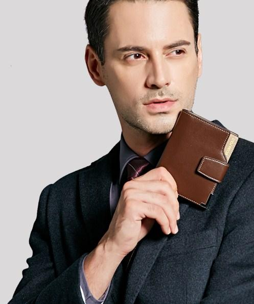Casual Stylish Man With Brown Classic Wallet - Front View