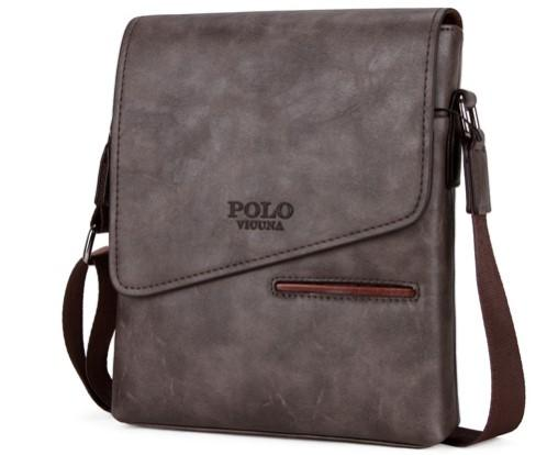 Casual Stylish Dark Gray Frosted Leather Messenger Bag- Side View