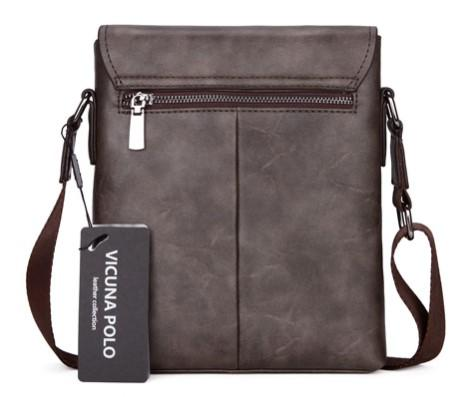 Casual Stylish Dark Gray Frosted Leather Messenger Bag- Back View