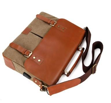 Casual Stylish Brown Genuine Leather Messenger Bag- Top View