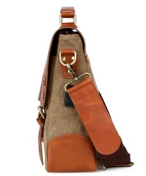 Casual Stylish Brown Genuine Leather Messenger Bag- Side View
