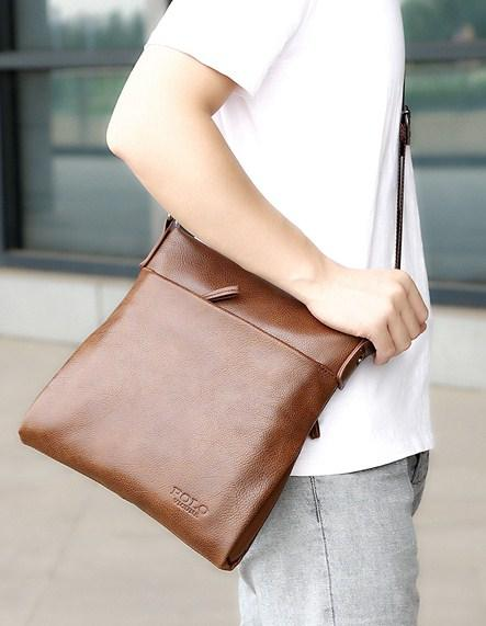 Casual Stylish Man With Brown POLO Leather Crossbody Bag - Side View