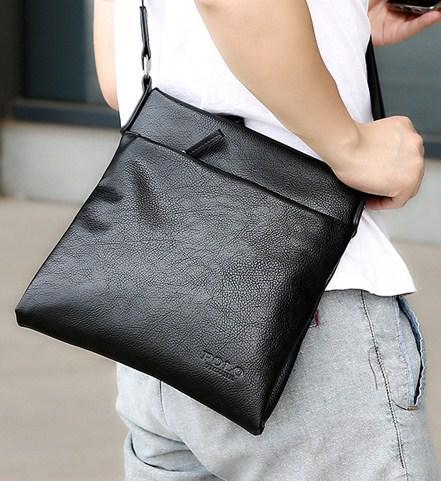 Casual Stylish Man With Black POLO Leather Crossbody Bag - Side View