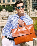Professional Stylish Man With Brown Vintage Business Bag - Front View