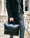 Professional Stylish Man With Black Vintage Business Bag - Side View