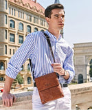 Casual Stylish Man With Brown Vintage Sling Bag- Front View