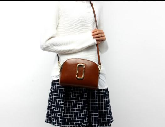 Casual Stylish Woman With Brown  CROSSBODY BAG- Front View