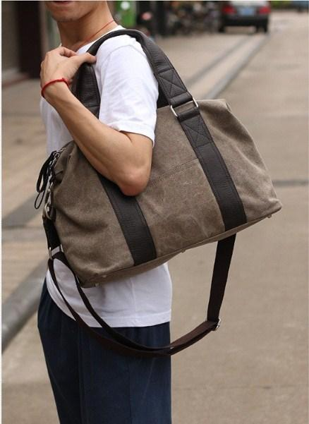 casual stylish khaki Duffel Bag- shouder view