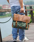 Casual Stylish Man With Light Green Leather and Canvas Business Bag- Front View