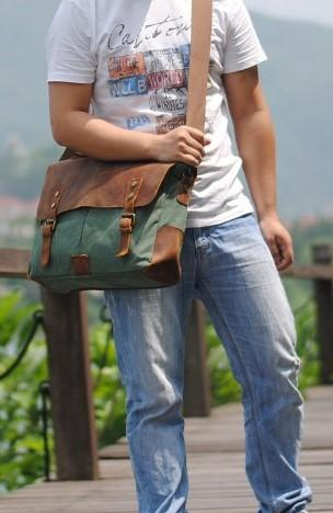 Casual Stylish Man With Light Green Leather and Canvas Business Bag- Side View