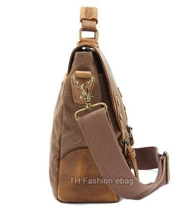 Casual Stylish Coffee Leather and Canvas Business Bag- Side View