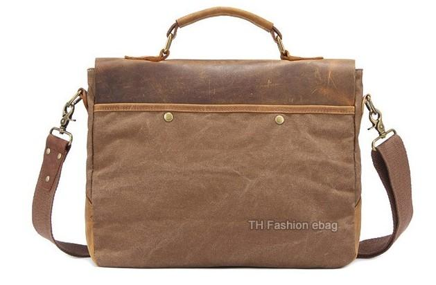 Casual Stylish Coffee Leather and Canvas Business Bag- Back View