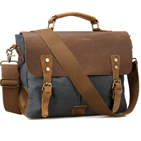Vintage Leather and Canvas Business Bag - BagPrime - Look Your Best with Amazing Bags