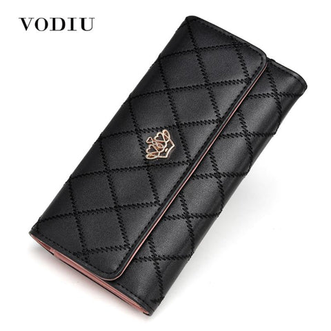VODIU Checkered Wallet with Crown - BagPrime - Look Your Best with Amazing Bags