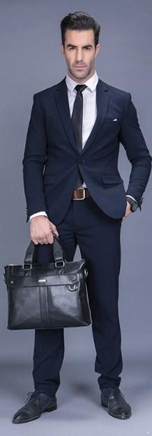 Professional Stylish Man With Black Classic Business Bag - Front View