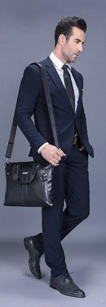 Professional Stylish Man With Black Classic Business Bag - Side View