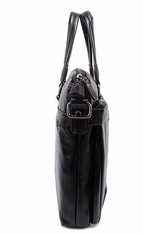 Professional Stylish Black Classic Leather Business Bag- Side View