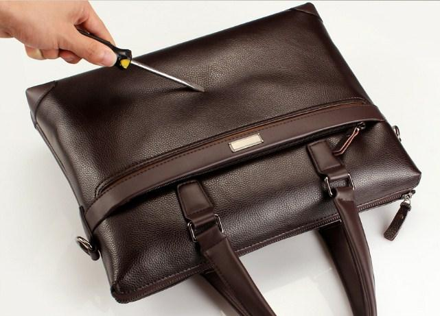Professional Stylish Man With Brown Modern Classic Laptop Bag - Top View
