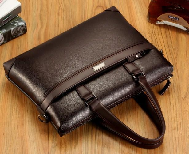 Professional Stylish Brown Modern Classic Laptop Bag - Top View