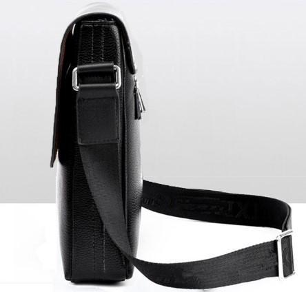 Casual Stylish Black Modern Edgy Messenger Bag- Side View