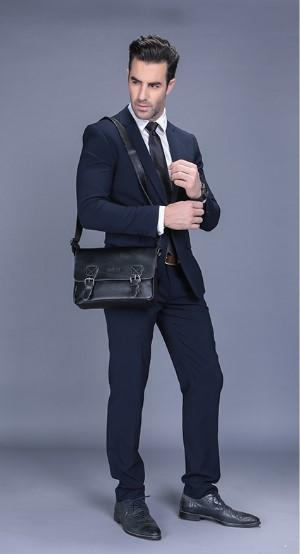 Casual Stylish Man With Black Retro Messenger Bag- Front View