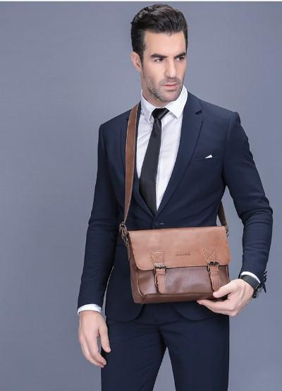 Casual Stylish Man With Brown Retro Messenger Bag- Front View