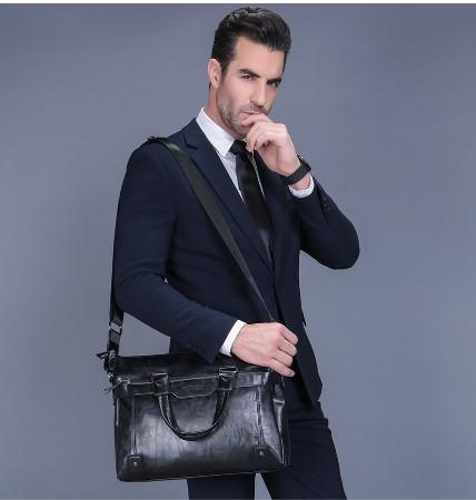 Professional Stylish Man With Black RUSTIC SLING BAG- Front View