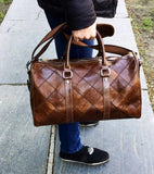 Casual Stylish Brown Genuine Leather Duffel Bag - Side View