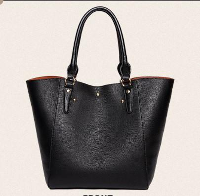 CLASSY LEATHER SHOULDER BAG FOR WOMEN-Black Front View