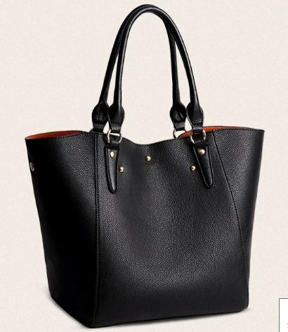 CLASSY LEATHER SHOULDER BAG FOR WOMEN-Black Side View