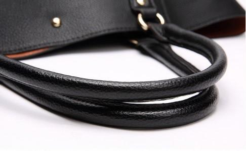 CLASSY LEATHER SHOULDER BAG FOR WOMEN-Black Close View