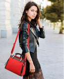 Casual Stylish Woman With Red Structured Handbag-Side View