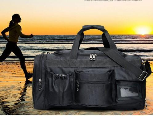 Casual Stylish Black Waterproof Travel Bag- Front View