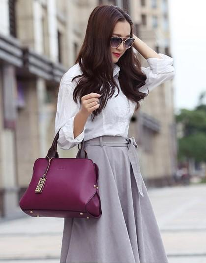 Professional Stylish Woman With Classy Satchel Purple Bag-Side View